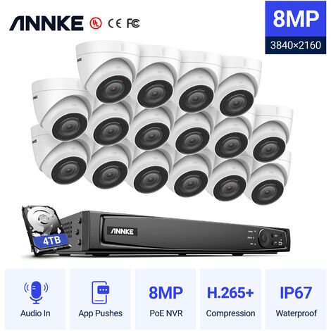 ANNKE 8MP 4K Ultra HD PoE ONVIF 8CH NVR Turret Security Camera System with H.265+ Coding 4K Wired CCTV Kits For Outdoor Indoor Video Survelliance 16 Cameras