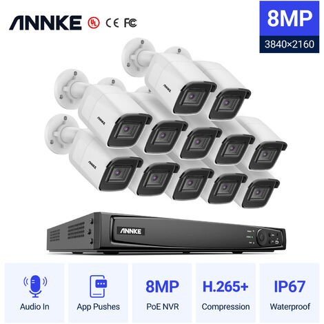 ANNKE 8MP 4K Ultra HD PoE ONVIF NVR Dome Security Camera System with H.265+ Coding 4K Wired HD Videosurvelliance Outdoor Indoor CCTV Kits 12 Cameras