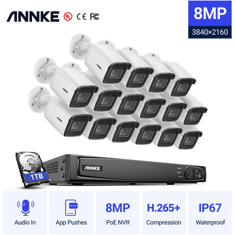 ANNKE 8MP 4K Ultra HD PoE ONVIF NVR Dome Security Camera System with H.265+ Coding 4K Wired HD Videosurvelliance Outdoor Indoor CCTV Kits 16 Cameras – 1TB Hard Drive