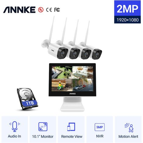 ANNKE 960P HD wireless Security System 4-Channel Wi-Fi NVR with 11 Inch LCD Screen Built-in and (4) 1.3MP 1080x 960 IP Cameras, Smart Motion Detection and Email Alert