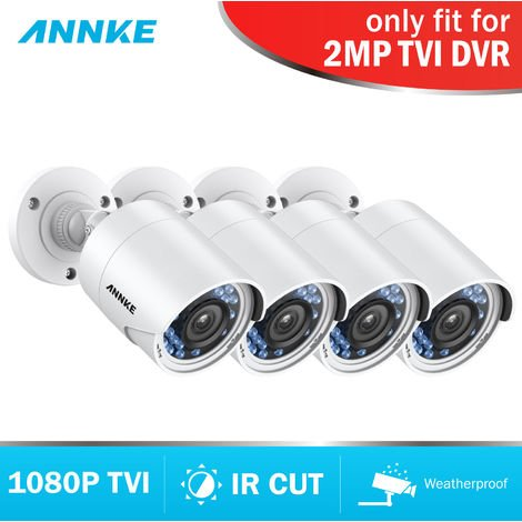 ANNKE C51BS 1080P HD-TVI Security Bullet CCTV Camera 4pcs Kit Weatherproof Housing And 66ft Super Night Vision
