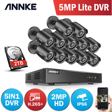 ANNKE CCTV Camera System 16 Channel 1080P Lite H.264+ DVR and 12×1080P HD Weatherproof Bullet Cameras