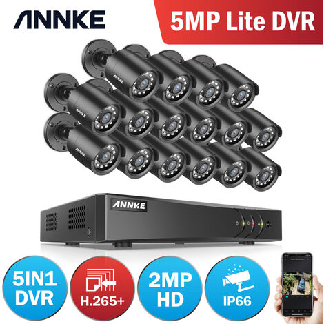 ANNKE CCTV Camera System 16 Channel 1080P Lite H.264+ DVR and 16×1080P HD Weatherproof Bullet Cameras
