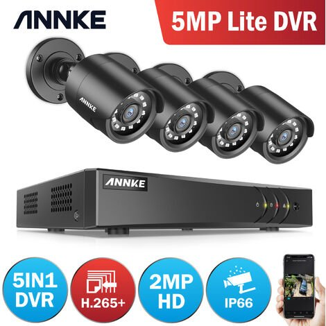 ANNKE CCTV Camera System 8 Channel 1080P Lite H.264+ DVR and 4×1080P HD Weatherproof Bullet Cameras