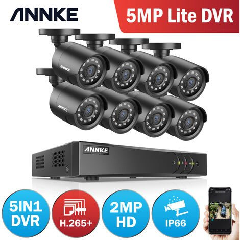ANNKE CCTV Camera System 8 Channel 1080P Lite H.264+ DVR and 8×1080P HD Weatherproof Bullet Cameras