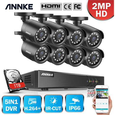 ANNKE CCTV Camera System 8 Channel 1080P Lite H.264+ DVR and 8×1080P HD Weatherproof Bullet Cameras