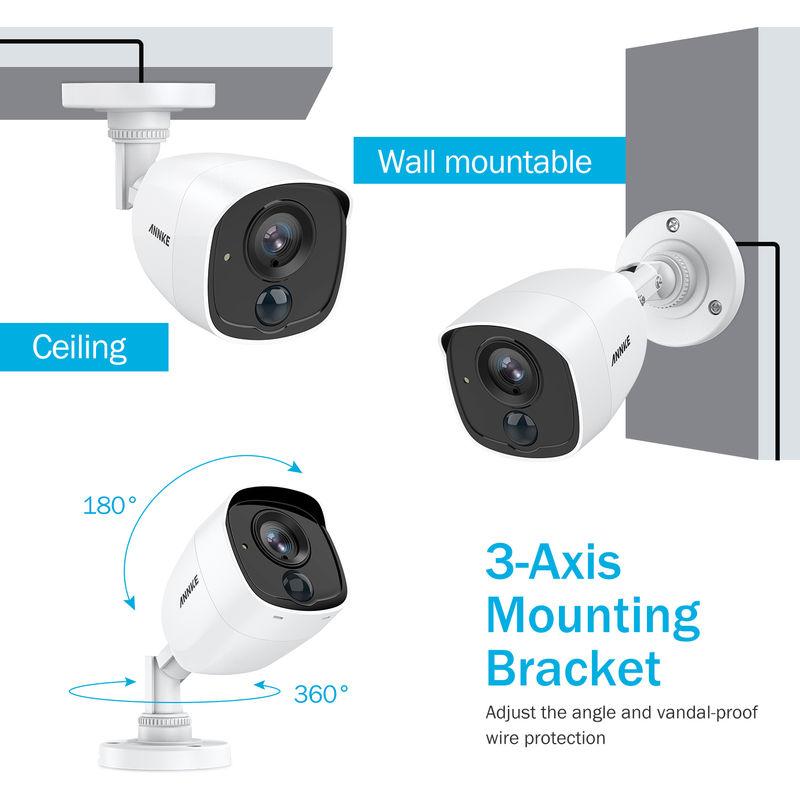 ANNKE CCTV Camera System 8 Channel H 265+ DVR and 4×1080P HD Weatherproof  Bullet Cameras PIR Detection Flashing Light Alarm Email Alert