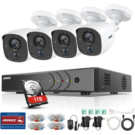 ANNKE CCTV Camera System 8 Channel H.265+ DVR and 4×1080P HD Weatherproof Bullet Cameras PIR Detection Flashing Light Alarm Email Alert