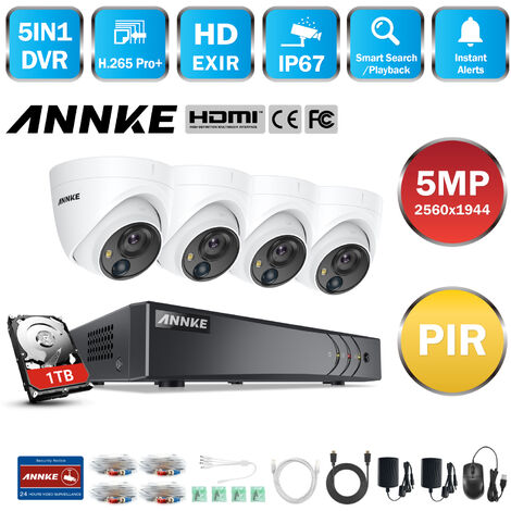 ANNKE CCTV Camera System 8 Channel H.265+ DVR and 4×1080P HD Weatherproof Dome Cameras PIR Detection Flashing Light Alarm Email Alert