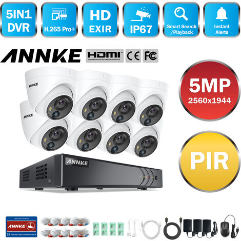 ANNKE CCTV Camera System 8 Channel H.265+ DVR and 8×1080P HD Weatherproof Dome Cameras PIR Detection Flashing Light Alarm Email Alert
