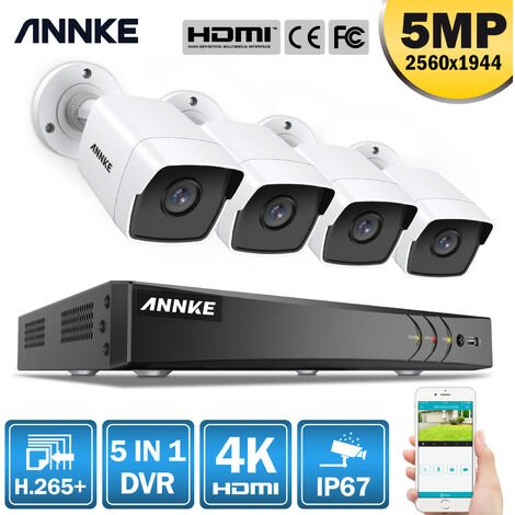 ANNKE CCTV Camera System 8-Channel Ultra HD 4K H.265+ DVR and 4×5MP HD Weatherproof Cameras