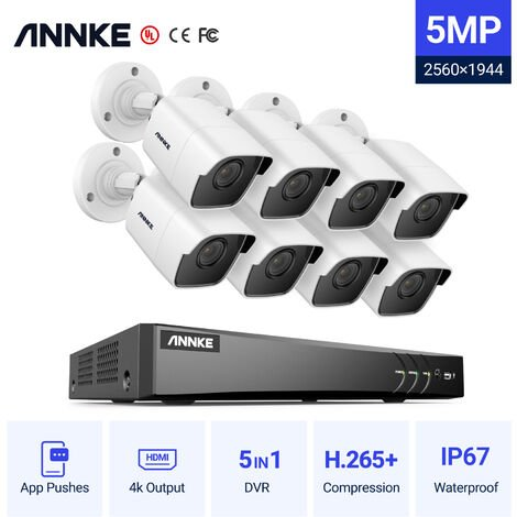 ANNKE CCTV Camera System 8-Channel Ultra HD 4K H.265+ DVR and 8×5MP HD Weatherproof Cameras