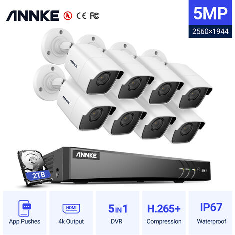 ANNKE CCTV Camera System 8-Channel Ultra HD 4K H.265+ DVR and 8×5MP HD Weatherproof Cameras – 2TB Hard Drive