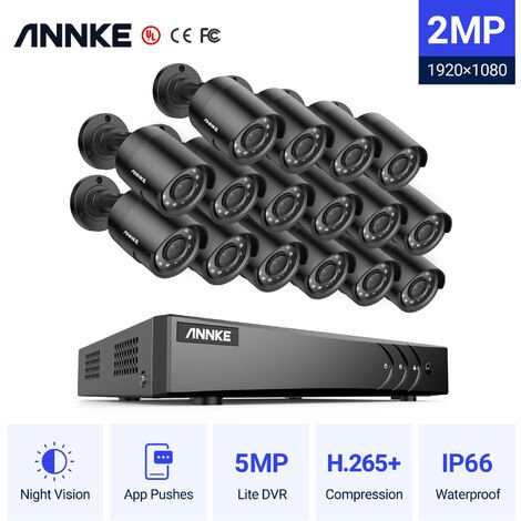 """main image of """"ANNKE CCTV Camera Systems 16 Channel 1080P H.264+ DVR and 16*1080P FHD Weatherproof HD-TVI Bullet Cameras"""""""