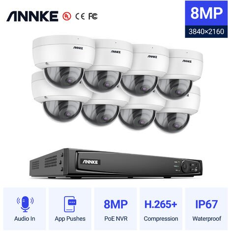 ANNKE Full 1080P Power over Ethernet Security Camera System 6.0MP 16CH NVR and 8* 2MP HD IP Cameras Weatherproof with 100ft Night Vision