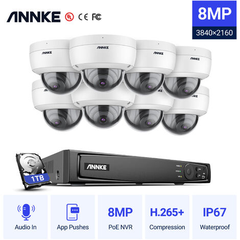 ANNKE Full 1080P Power over Ethernet Security Camera System 6.0MP 8CH NVR and 8* 2MP HD IP Cameras Weatherproof with 100ft Night Vision