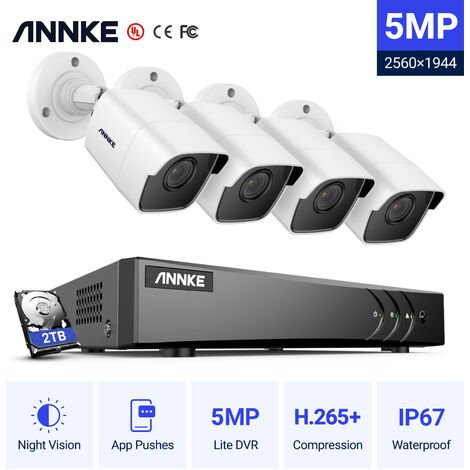 ANNKE H.265+ 5MP Lite Ultra HD 8CH DVR CCTV Security System 8pcs Outdoor 5MP EXIR Night Vision Camera Video Surveillance Kit Without HDD