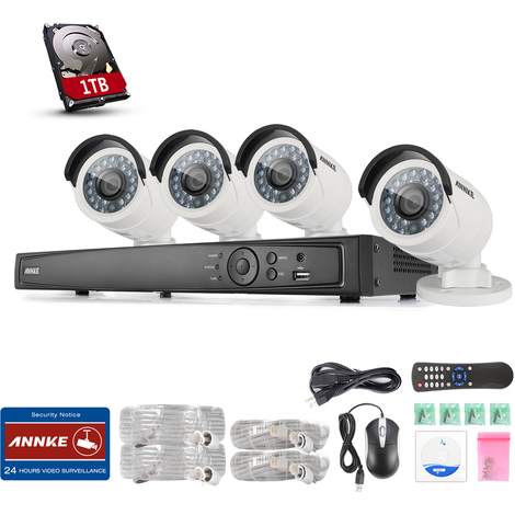 ANNKE Kit 1080P HD vigilancia digital 8CH NVR POE 4*Cámara con un