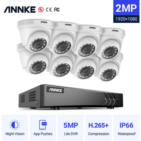 Annke Kit cámara de vigilancia 16CH 5 en 1 DVR 3MP grabadora + 12 cámara domo HD 1080P exterior visión nocturna de 20m