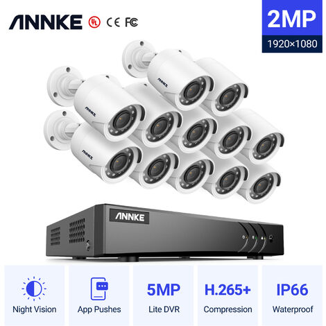 Annke Kit cámara de vigilancia 16CH 5 en 1 DVR 3MP grabadora + 16 cámara bala HD 1080P exterior visión nocturna de 20m