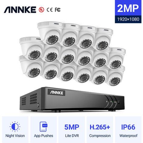 Annke Kit cámara de vigilancia 16CH 5 en 1 DVR 3MP grabadora + 16 cámara domo HD 1080P exterior visión nocturna de 20m