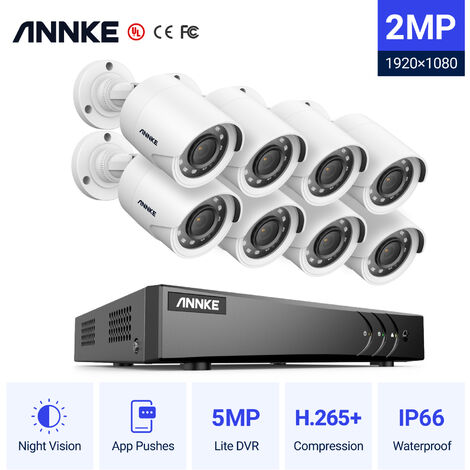 Annke Kit cámara de vigilancia 16CH 5 en 1 DVR 3MP grabadora + 8 cámara bala HD 1080P exterior visión nocturna de 20m