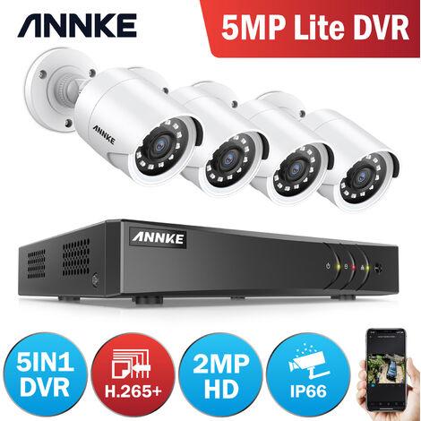 Annke Kit cámara de vigilancia 4CH 5 en 1 DVR 3MP grabadora + 4 cámara bala HD 1080P exterior visión nocturna de 20m
