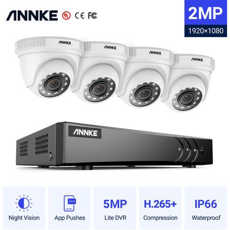 Annke Kit cámara de vigilancia 8CH 5 en 1 DVR 3MP grabadora + 4 cámara domo HD 1080P exterior visión nocturna de 20m