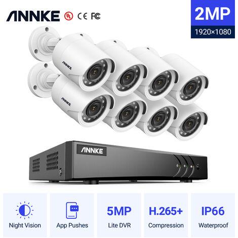 Annke Kit cámara de vigilancia 8CH 5 en 1 DVR 3MP grabadora + 8 cámara bala HD 1080P exterior visión nocturna de 20m