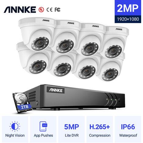 Annke Kit caméra de surveillance filaire 8CH 5 en 1 DVR 3MP enregistreur + 8 caméra HD 1080P Extérieur vision nocture 20m