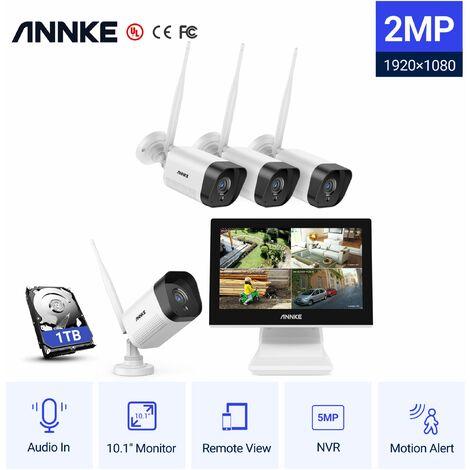 ANNKE Kit de vidéosurveillanceSystème de vidéosurveillance WiFi NVR 4CH 3M Full HD avec moniteur LCD 10,1 '', système de sécurité sans fil Plug and Play, 4 caméras IP extérieures / intérieures Avec disque dur de 1 To