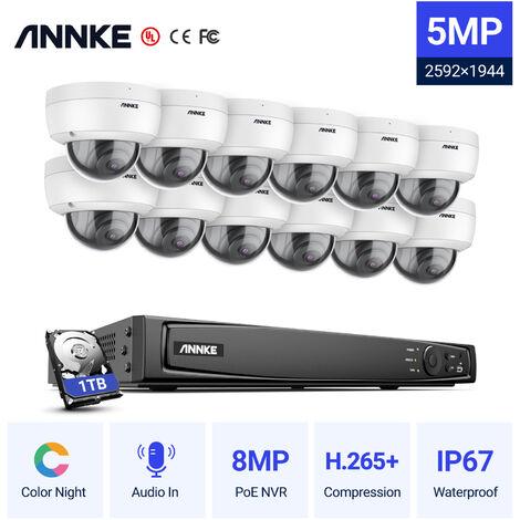 ANNKE Kit vidéo surveillance extérieur 16 CH 1080p POE NVR +2 MP caméras dome