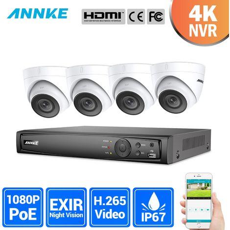ANNKE Kit vidéosurveillance extérieur 4CH 1080p NVR +2 MP 4 caméras dome vision nocturne 100ft/30m – sans disque dur