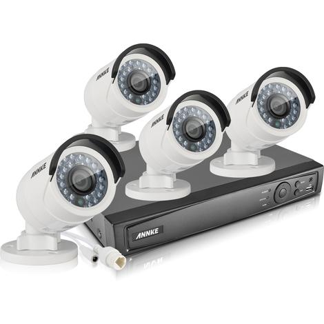 ANNKE Kit vidéosurveillance extérieur/intérieur 4CH 1080p NVR +2 MP 4 caméras vision nocturne 100ft weatherproof IP66