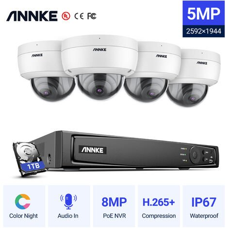 ANNKE Kit vidéosurveillance extérieur/intérieur 8CH 1080p NVR +2 MP 4 caméras dome – 1TB disque dur