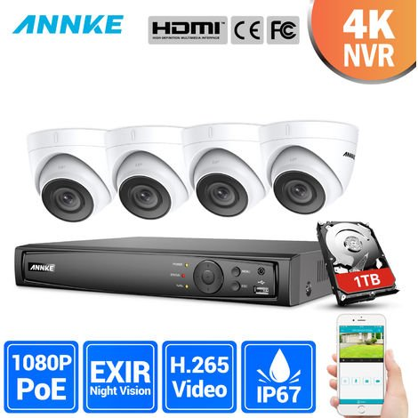 ANNKE Professional 2MP POE Security Camera System 4K 8CH Security NVR With 4x 1080P CCTV Dome Cameras – No hard drive