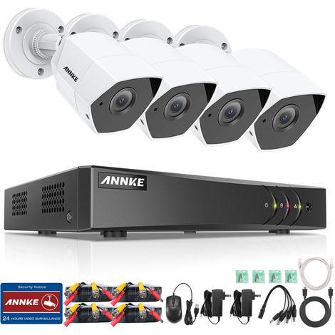 ANNKE Sistema de cámara CCTV de 8 canales 5 canales H.265 + DVR y 4x3MP HD de 8 canales de