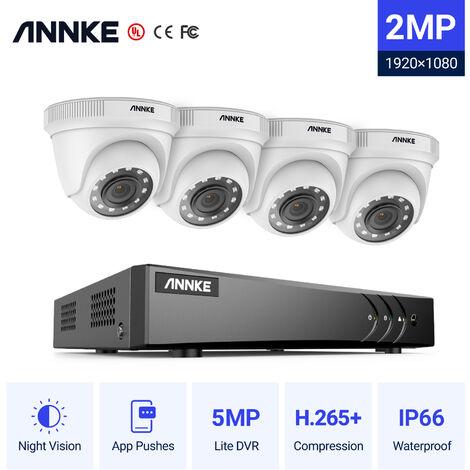ANNKE Sistema de cámara CCTV H.265 3MP 5 en 1 de 4 canales + 4 HD 1080x Starlight Cámaras a prueba de intemperie de ruido HD, alerta instantánea por correo electrónico, acceso remoto