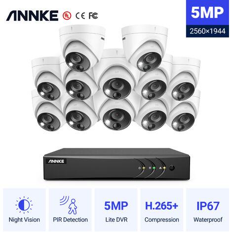ANNKE Sistema de cámara de seguridad con cable de 16CH 5MP H.265 Pro + DVR Vigilancia con cámaras para exteriores PIR de 12pcs 5MP - sin disco duro