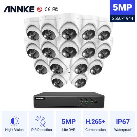 ANNKE Sistema de cámara de seguridad con cable de 16CH 5MP H.265 Pro + DVR Vigilancia con cámaras para exteriores PIR de 16pcs 5MP - sin disco duro