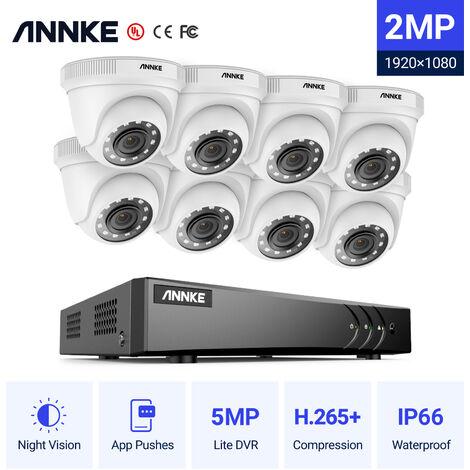ANNKE Sistema de cámara de seguridad de 8 canales HD-TVI 1080P Lite H.264 + DVR con 8 × 1080P HD Cámaras CCTV impermeables para interiores / exteriores blanco