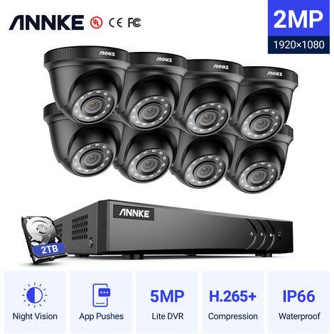 ANNKE Sistema de cámara de seguridad de 8 canales HD-TVI 1080P Lite H.264 + DVR con 8 × 1080P HD Cámaras CCTV impermeables para interiores / exteriores negro - Incluye disco duro de 2TB