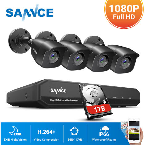 ANNKE Sistema de cámara de seguridad de 8 canales HD-TVI 1080P Lite H.264 + DVR con 8 × 1080P HD Cámaras CCTV impermeables para interiores / exteriores negro