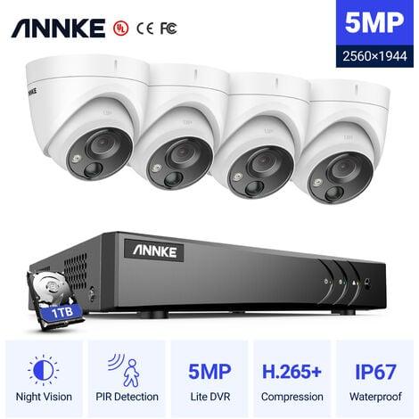 ANNKE Sistema de cámara de seguridad Super HD de 5MP DVR 5-en-1 de 8 canales con cámaras PIR para exteriores de 4 * 5MP