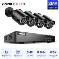 ANNKE Sistema de cámaras de seguridad 8CH HD-TVI DVP H.264 + 1080P Lite con cámaras CCTV para interiores / exteriores 1080P HD 4 cámaras negras