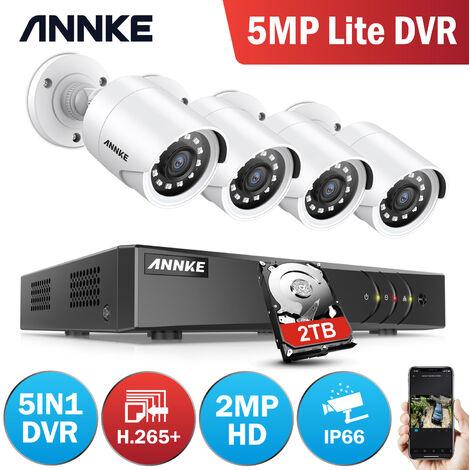 "main image of ""ANNKE Sistema de cámaras de seguridad  8CH HD-TVI DVR H.264 + 1080P Lite con cámaras CCTV para interiores / exteriores 1080P HD 4 cámaras blancas"""
