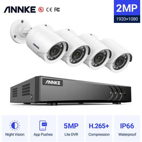 ANNKE Sistema de cámaras de seguridad 8CH HD-TVI DVR H.264 + 1080P Lite con cámaras CCTV para interiores / exteriores 1080P HD 4 cámaras blancas