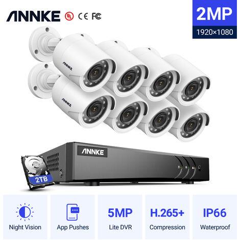 ANNKE Sistema de cámaras de seguridad 8CH HD-TVI DVR H.264 + 1080P Lite con cámaras CCTV para interiores / exteriores 1080P HD 8 cámaras blancas – 2TB