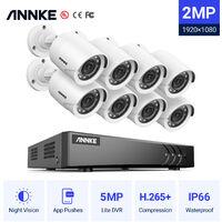 ANNKE Sistema de cámaras de seguridad 8CH HD-TVI DVR H.264 + 1080P Lite con cámaras CCTV para interiores / exteriores 1080P HD 8 cámaras blancas