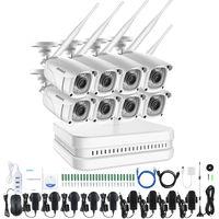 ANNKE Sistema de videovigilancia con Wi-Fi NVR 8CH 1080P FHD con 8 cámaras IP para interiores y exteriores
